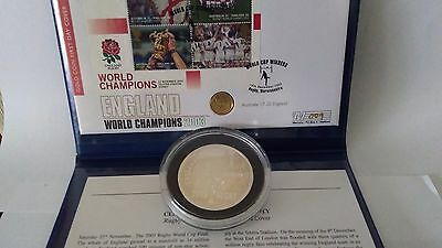 2003 Rugby World cup winners Gold Britania Cover & 2oz silver commemorative coin