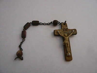Vintage Antique Prayer Rosary Irish Ireland Eire Horn Beads Cross Crucifix Parts
