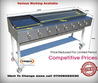 8 Burner Gas Chargrill BBQ Charcoal Grill Heavy Duty for Commercial Use