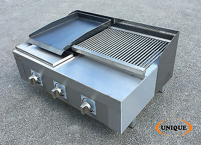 New 3 Burner Gas Charcoal Grill BBQ Chargrill with Hotplate Commercial Use