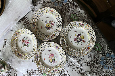 Set of Four 19 Cent. Meissen Reticulated Plates - Floral With Insects -