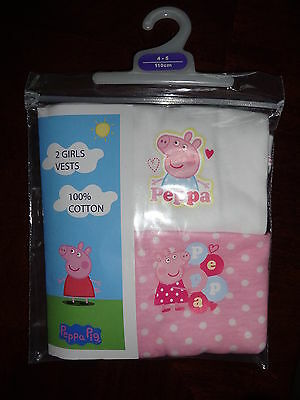 Nwt Girls Peppa Pig 2 Pack Vests Cami Tank Top Underwear 3T 4T 5T New In Pack