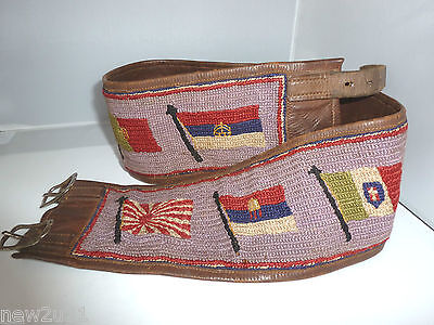 WW1 Trench Art Sweetheart Flags of the Allies Leather Embroidery Belt