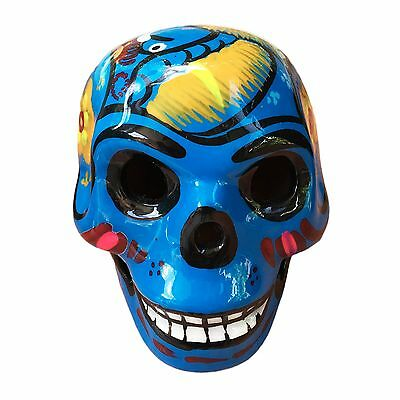 Day Of The Dead Mexican Made Hand Painted Skull 2.5 Inch Size - Blue
