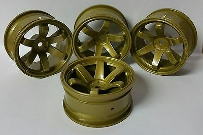 1/10 RC Car on road/touring/rally wheels x4 Gold