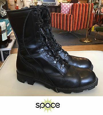 Nice Pair Of Men's Altama Black Leather Military Combat Boots Size 10