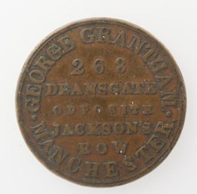 Farthing token New Grasshopper Tea Warehouse George Grantham Manchester GB