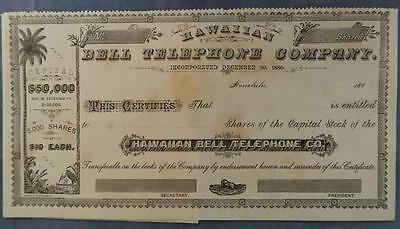 Hawaii 1880 Bell Telephone Company unused share certificate $10