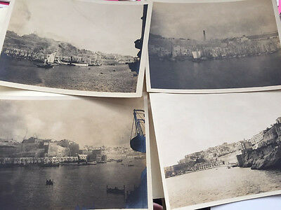 4 X Old Photos Of The Grand Harbour  - Malta  Dated 1922