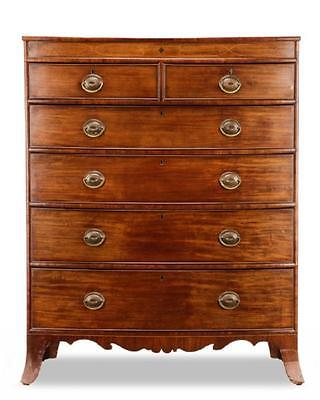 Antique English Georgian Mahogany Bowfront Dresser Chest of 6 Drawers H 56""