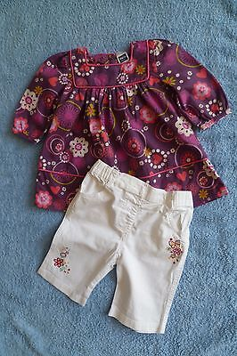 Baby clothes GIRL 0-3m outfit purple floral dress/white embroider trouser C SHOP