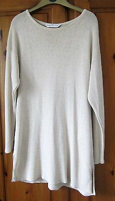 Marks and Spencer 100% Silk Ecru Long Line Jumper - Size 12