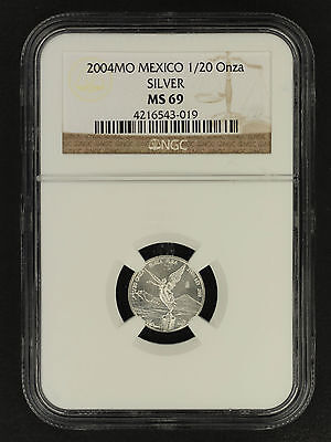 2004MO Mexico Silver Libertad 1/20 Onza NGC MS-69 Finest Known! -160723
