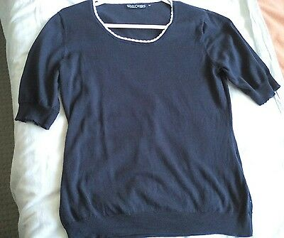 "WOOLOVERS, Size M, 34"" Bust, Ladies Silk & Cotton,  Short Sleeved Jumper"