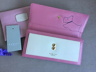 """Radley """"Hatton"""" Pink  Large Leather Clutch Purse Wallet & Dust Bag- BRAND NEW"""