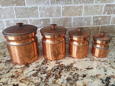 Vintage Tagus Copper Kitchen Canister Set - Mid Century - R14 - Retro Containers