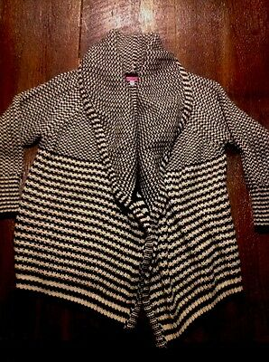 Black & White Maternity Cardigan Sweater By Maternal America XS S Acrylic