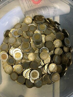 Lot Of 10 Pounds Of Bimetallic World Coins NO MEXICO OR DOMINICAN