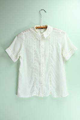 Vintage Button Up Top Sheer Gauzy Lace Collar Shirt Short Sleeve White Blouse S