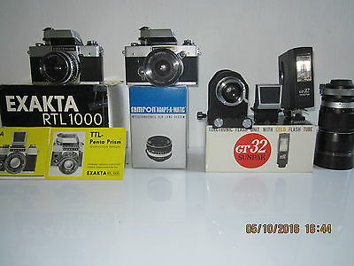 EXAKTA RTL1000 CAMERAS x 2 , PLUS VARIOUS ATTACHMENTS