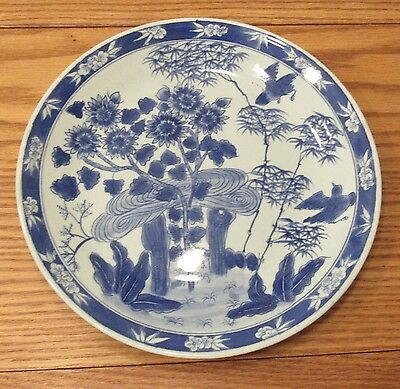 "Ming Wanli? 10.5"" diameter plate 6 character mark Chinese blue painted porcelain"