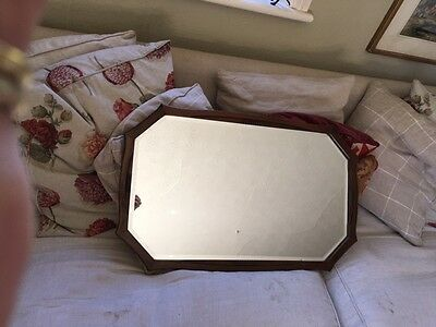 vintage art deco wood and bevelled glass mirror with chain
