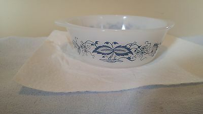 Vintage Glasbake Old Town Blue Onion Milk Glass