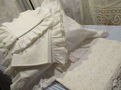 Beautiful Vintage French 4 piece Trousseau set. Broderie Anglaise, UNUSED