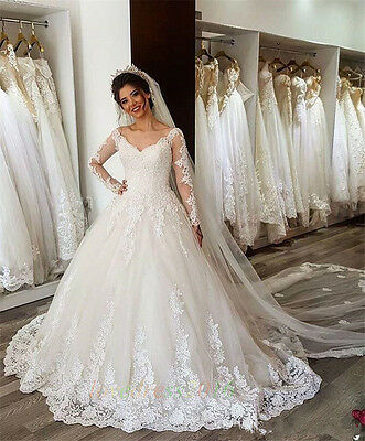 New A Line White/Ivory Wedding Dresses Bridal Ball Gown Custom Size 12 14 16 18+