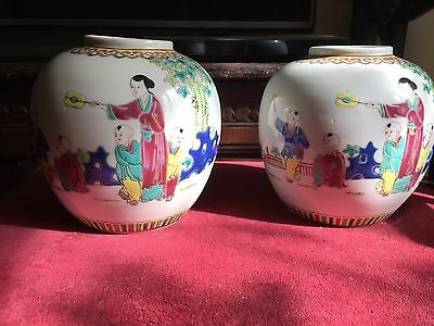 Pair Of Antique Canton Chinese Republic Ginger Jars