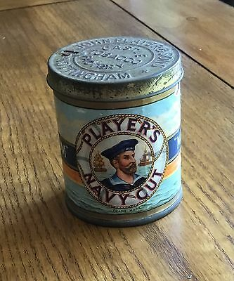 Vintage Round Cigarette Tin Players Navy Cut Medium - 50 Cigarette Size Tobacco