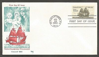 Us Fdc 1983 German Imm. Concord 1683 20C Marg Cachet First Day Of Issue Cover