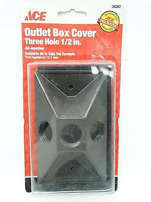 """NEW Ace 36262 Bronze Single Gang Three Holes 1/2"""" All Weather Outlet Box Cover"""