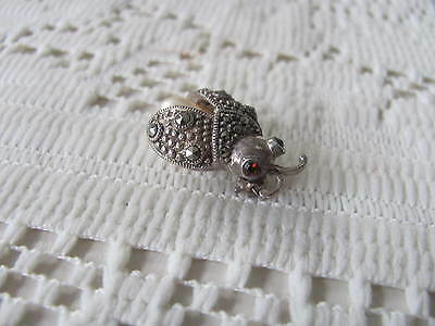 Sterling Marcasite Lady Bug Brooch Pearl Pin Vintage Jewerly