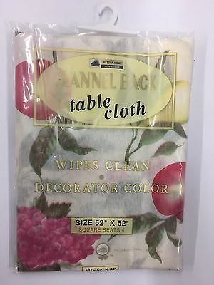"Flannel Back Table Cloth Size 52"" x 52"" Square Assorted Patterns (NEW)"