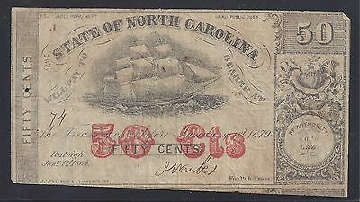 50c Fractional Note State of North Carolina 1864
