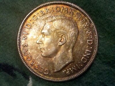 1943-S Australia Florin Nicely Toned Higher Grade .925 Silver 2 Shillings Coin