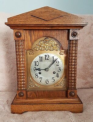 Victorian English Oak cased mantle, bracket clock. Chiming movement. Circa 1880.