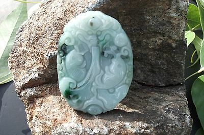 Natural  jadeite jade  pendant  fish and  dragon   Certificate  grade A