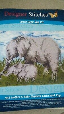 new designer stitches nr8 mother and baby elephant latch hook large rug