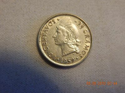 1959 Dominican Repubic 10 Centavos - Low mintage 2,000,000 - 17.9 MM