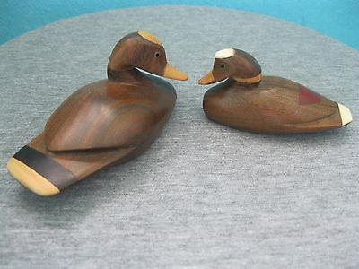 Pair Solid Hardwood Carved Small Duck Figures With Inlays