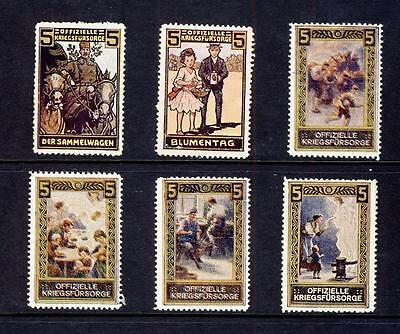 CINDERELLA-WW 1-GERMANY-OFFIZIELLE KRIEGSFURSORGE  x 6 DIFFERENT-WELFARE FUND-1