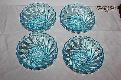 Vintage AQUA BLUE TURQUOISE SCALLOPED GLASS FRUIT DESSERT BOWLS-Set of 4