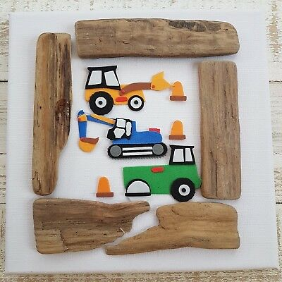 Childrens Baby Boys Babies Nursery Tractor Digger For Boy Canvas Picture Gift