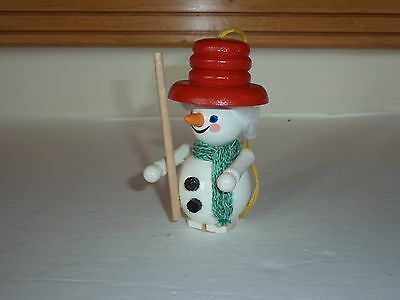 Steinbach Wood Snowman Christmas Ornament Red Hat Green Scarf Carrot Nose