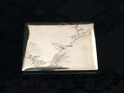 Vintage Japanese sterling silver box bird on branch gold touches signed ZhaoZeng