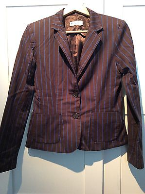 Gorgeous Ben Sherman Womans striped Vintage Boating Blazer Mod Small brown/blue