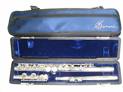 Sonare SF-301 Flute Silver Plated with Case and Carry Bag Great Cond. Ships FREE