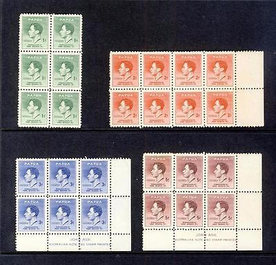 Papua-1937 Coronation-Set In Mint Blocks Of 6 & 8-2 Blocks With Ash Imprint